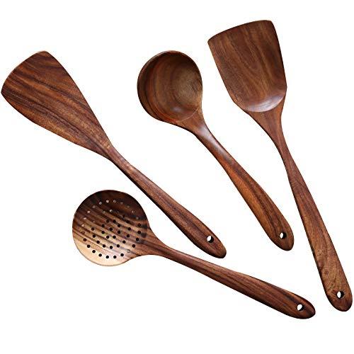 Wooden Cooking Utensils Kitchen Utensil,NAYAHOSE Natural Teak Wood Kitchen Utensils Set – Nonstick Hard Wooden Spatula…