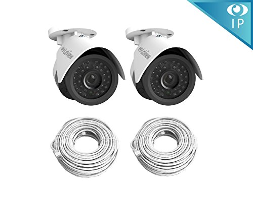 LaView 2 Pack HD 1080P 2MP PoE IP 4mm Indoor/Outdoor Weatherproof Camera / Night Vision 100ftCables Included