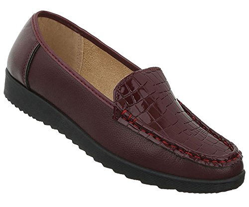 Damen Schuhe Mokassins Slipper Modell Nr.1Bordeaux