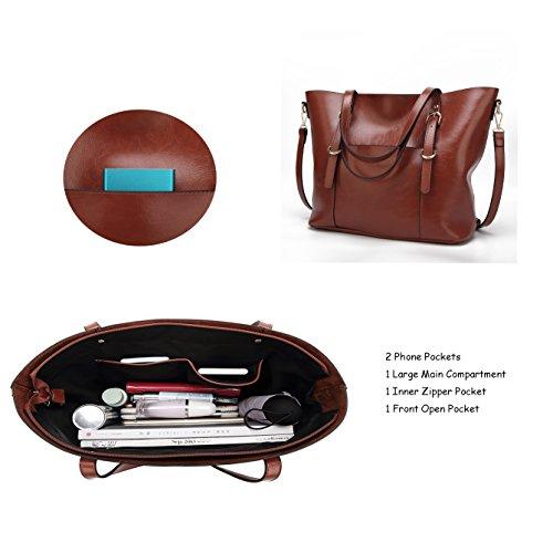 purse Lady Satchel Shoulder Leather Handle for Soft Clutch Bags Handbags Coffee2 Women Top PU 7qXx4Kp