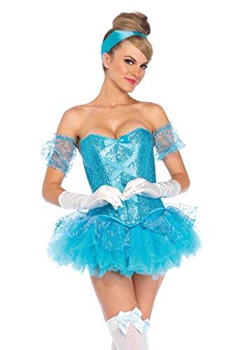 Leg Avenue Women's 5 Piece Cinderella Costume, Aqua,