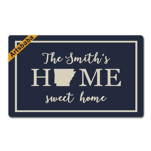 Artsbaba Doormat Home Sweet Home Door Mat Monogram Non-Slip Rubber Doormat Non-Woven Fabric Floor Mat Indoor Entrance Rug Decor Mat 30 x 18 Inches - Arkansas ()