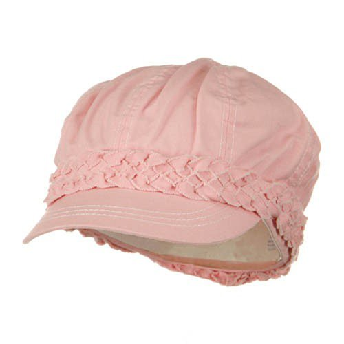 Ladies Brushed Canvas Newsboy Hat - Pink OSFM