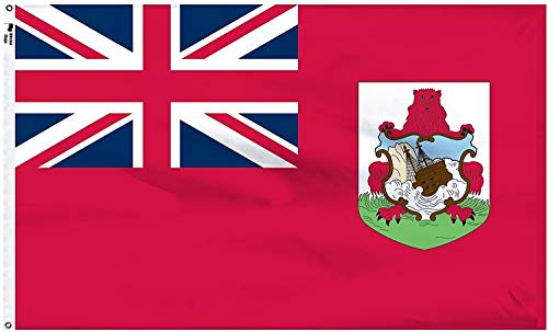 """Official Flags """" World Flag Collection """" Bermuda Union Jack Double Sided Outdoor Indoor Strong Polyester Flag, Red, 3x5 Foot"""