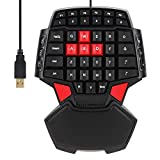 ElementDigital Delux T9 Gaming Keyboard 47 Keys One-hand Wired USB Keypad Double space Bar USB for Left Right Hand