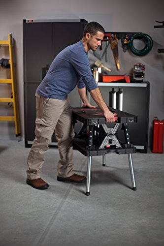 Keter Folding Compact Adjustable Workbench Sawhorse Work Table with Clamps 700 lb Capacity by Keter (Image #2)