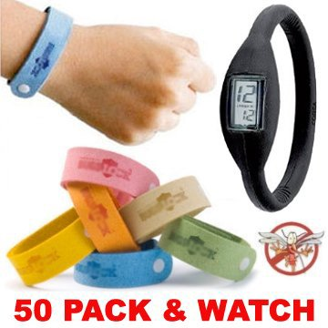 50-fifty-pack-mosquito-bracelets-plus-ion-watch-wholesale-lot-of-bugs-mosquito-repellent-citronella-