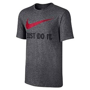 NIKE Men's Sportswear Just Do It Swoosh Tee, Charcoal Heather, Medium