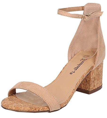 de Chunky Heel Sandal - Basic, Dressy, Formal, Versatile, Casual - Ankle Strap Sandal - GG64 8 B(M) US, Natural (Faux Suede Sandals)