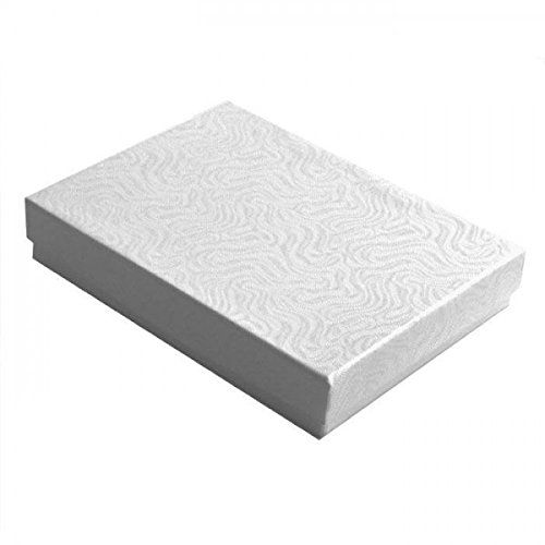 - 10 Pack Cotton Filled Elegant White Color Jewelry, Gift and Retail Boxes 5.25 X 3.75 X 1 Inch Size