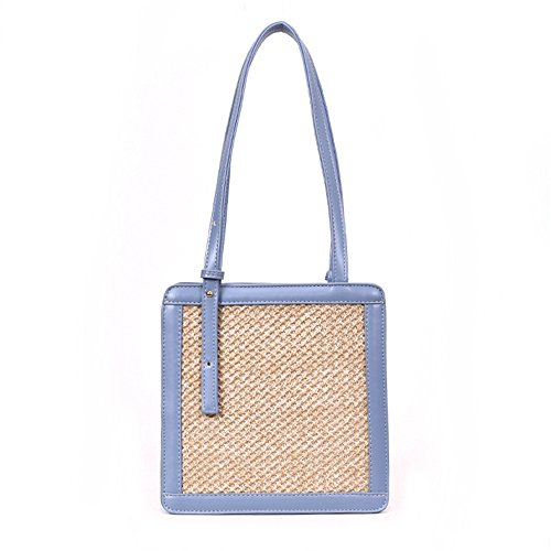 Summer Bag Simple Fashion Meaeo New Satchel Woven Blue Style Blue Handbag 4CwagqwI