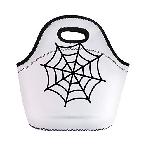 Semtomn Lunch Bags Flat Black Cobweb of Spider on White Fear Halloween Neoprene Lunch Bag Lunchbox Tote Bag Portable Picnic Bag Cooler Bag -