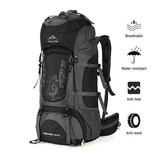 NACATIN Internal Frame 70L Backpack Water-Resistant Waist Belt Padded Shoulder Straps Outdoor Activity Bag 65L+5L Large Capacity (Black)