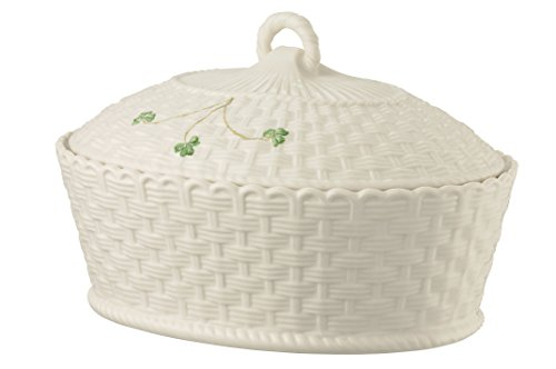 (Belleek Pottery 1325 Shamrock Oval Covered Dish, 47-Ounce, White )