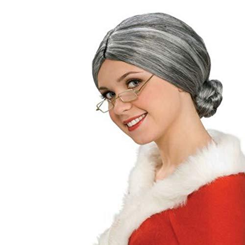 Old Lady Costume Wig, Gray Wig Granny Bun Wig Costume ()