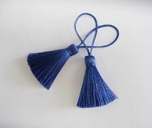 Royal Blue Tassel Silk Dangling Trim Fringe DIY Jewelry Making Scarf Braid Woven Sewing Supply 2 Pieces -