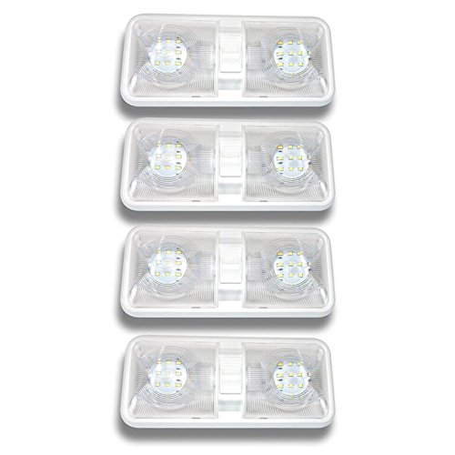 Leisure LED 4 Pack RV LED Ceiling Double Dome Light Fixture with ON//Off Switch Interior Lighting for Car//RV//Trailer//Camper//Boat DC 12V Natural White 4000-4500K 48X2835SMD
