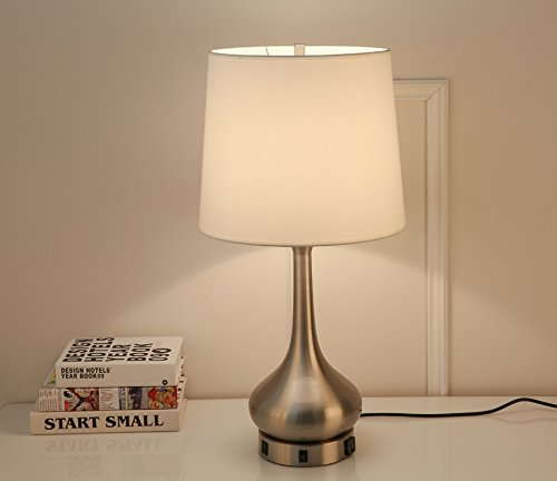 Lobolovelife Brushed Nickel Desk Lamp Table Lamp With Convenience