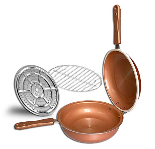 "Copper Ceramic Non Stick Double Grill Pan 10.5"" - Low Pressure Cooking System - Two Sided Usability - Healthy & Fat Free - Baking, Roasting, Grilling - Includes Roasting / Baking / Steaming Insert"