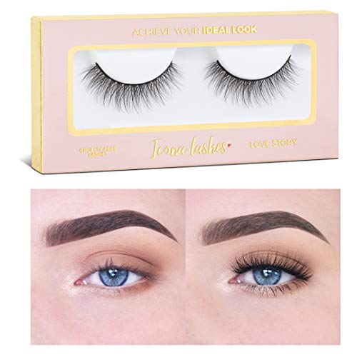 Icona Lashes Premium Quality False Eyelashes   Love Story   Fluffy and Universal for All Eyes   Natural Look and Feel   Reusable   100% Handmade & Cruelty-Free