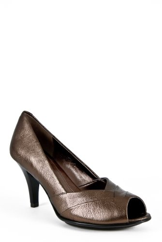 Sofft Womens Galilee Peep-toe Pump Black Leather (8 M, Smog)