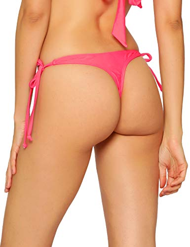 RELLECIGA Women's Watermelon Red Tie Side Thong Bikini Bottom Size -