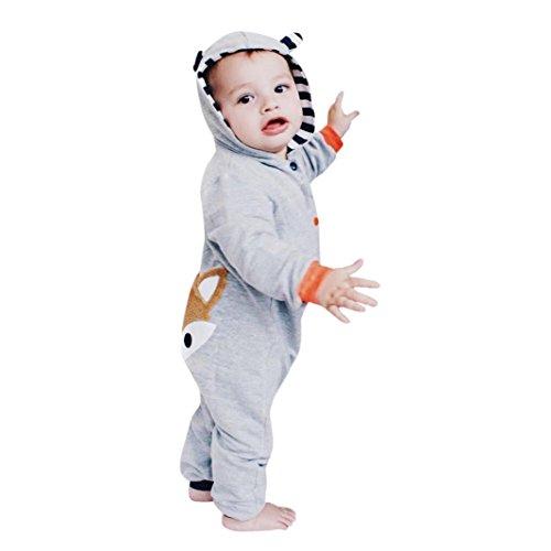 Goddessvan Newborn Kid Baby Boys Girls Stripe Fox Clothes Hoodie Jumpsuit Outfits (18M, Gray)
