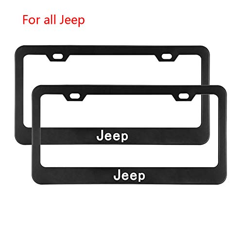 (Zhengyong Auto 2pcs Matte Black Stainless Steel License Plate Frame Set for Jeep,with Screw Caps Cover (Jeep))