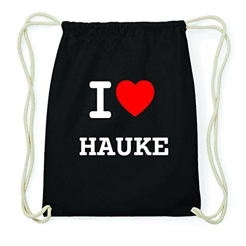JOllify HAUKE Hipster Turnbeutel Tasche Rucksack aus Baumwolle - Farbe: schwarz Design: I love- Ich liebe a49Re