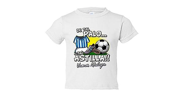 Camiseta niño De tal palo tal astilla Málaga fútbol - Blanco, 7-8 años: Amazon.es: Bebé