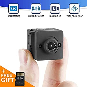 TinyEye Mini Spy Camera Hidden Camera Full 1080p HD Camera Ultra Wide-Angle Lens (155°) Nanny Cam Motion Detection Night Vision Mode. (Includes: 16GB SD Card + Mounting Accessories)