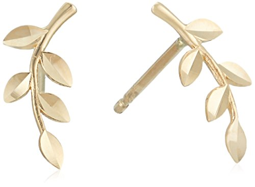 14k Gold Leaf Earrings - 14k Yellow Gold Petite Leaf Stud Earrings