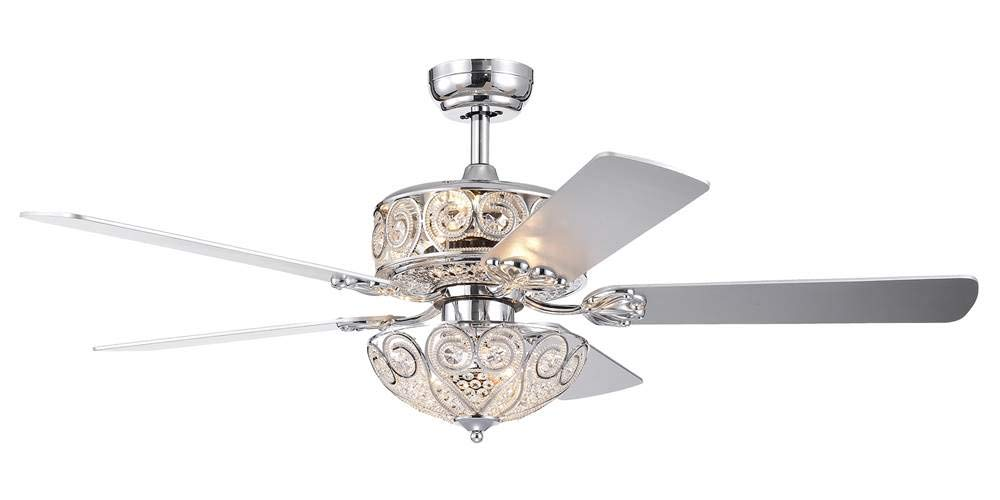 Warehouse of Tiffany CFL-8370REMO/CH Catalina Chrome-Finish 5-Blade 52-inch Crystal (Includes Remote and Light Kit) Ceiling Fan, Silver