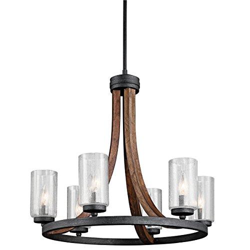 Kichler 43193AUB Grand Bank Chandelier 6-Light, Auburn Stained Finish - Auburn Stained Glass