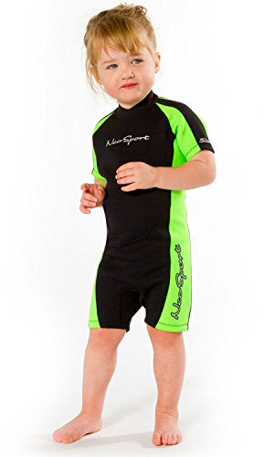 NeoSport Wetsuits Children's Premium Neoprene 2mm Shorty Wetsuit, Black/Lime, Size - Wetsuit Size