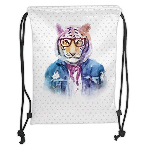 New Fashion Gym Drawstring Backpacks Bags,Quirky Decor,Intellectual Tiger with Scarf Torn Denim Jacket and Glasses Watercolor Artwork Decorative,Multicolor Soft Satin,Adjustable S -