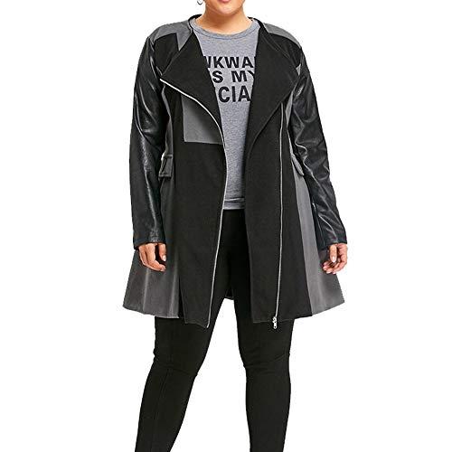 Kangma Winter Warm Women Woolen Leather Patchwork Long Coat Jacket Overcoat Outwear Grey