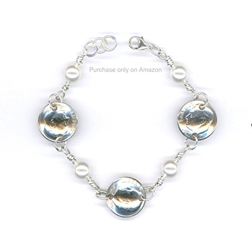 50th Birthday Gifts for Her 1968 Dime Coin Swarovski Crystal Pearls Bracelet Jewelry 1968 50th Anniversary Gift Women