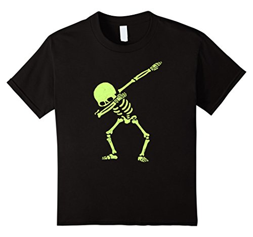 Kids Dabbing Skeleton Shirt Dab Hip Hop Skull Dabbin Glow Effect 8 (Office Related Halloween Costumes)