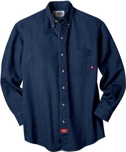 Dickies WL300 Men's LS Denim Work Shirt Rinsed Indigo Blue 3X-Large (Mens Ls Work Shirt)