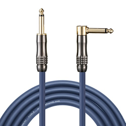 "(20ft Guitar Cable, 1/4"" Straight Jack to Angled Jack, Blue Jacket and Gold Plugs, Instrument Cable for Electric Guitar, Bass, Keyboard,by SPEAKFRIENDS)"