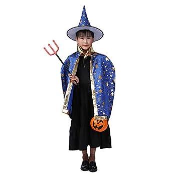 Kinder Halloween Kostum Madchen Jungen Hexe Zauberer Umhang Kostum