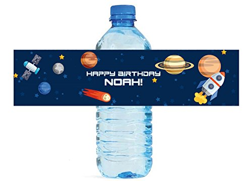 [100 Space Theme Kids Birthday Party Water Bottle labels] (Theme Bottle)
