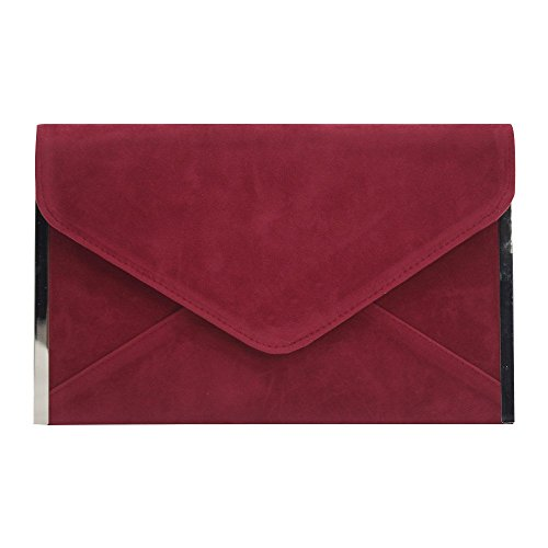 Red Evening Dark Clutch Hot Wiwsi Envelope Pink Party Bag Handbag Chain Women Cocktail New Wedding WFOTqO6Z