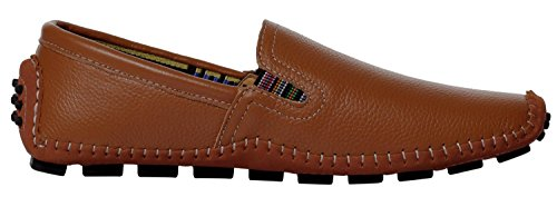 Ujoowalk Hombres Cosido Penny Driving Slip On Loafer Zapatos Brown