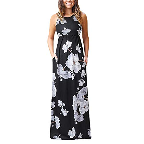 TnaIolral Women's Sleeveless Floral Racerback Loose Swing Casual Tunic Beach Long Maxi Dresses with Pockets (M, Black 1) -