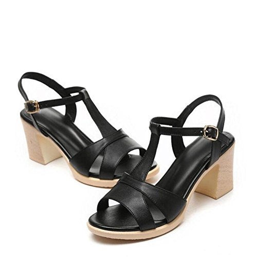 Girls L@YC Women'S Sandals High Heeled Fish Mouth Summer Leather Non Slip Casual Rough Soft Bottom Dress Women'S Shoes , black , 37
