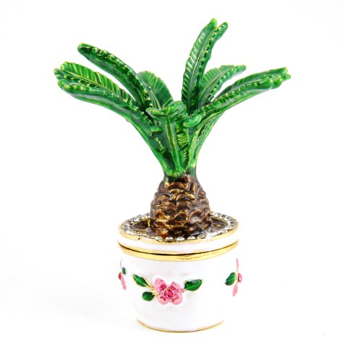 Objet D'Art Release 152 Sago Palm Potted Palm Tree Handmade Jeweled Metal  Enamel Trinket Box