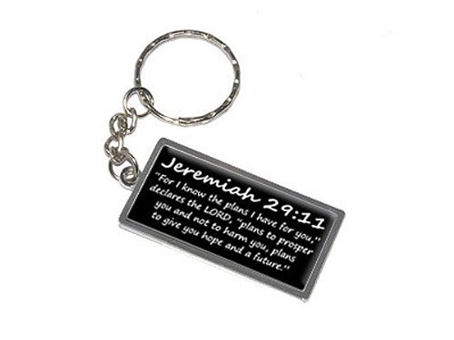 Graphics and More Jeremiah 29-11 For I know the plans I have for you, declares the LORD, plans to prosper you and not to harm you, plans to give you hope and a future Christian Bible Keychain Ring (K0