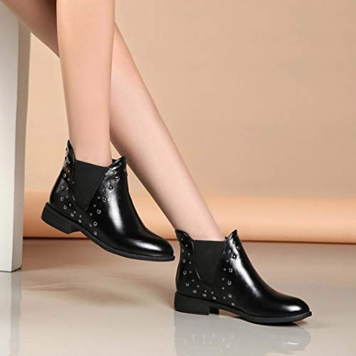 Brogues Autumn High Light Black Flat Women Leather Warm Boots Ankle Casual Rivets Shoes Keep Top Martin Winter t8wtxZOqp